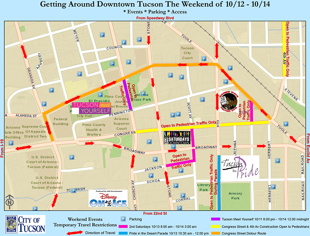 Map Of Downtown Tucson Pictures To Pin On Pinterest