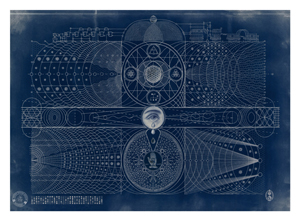 "Blue print of ""Eternal Universe,"" by Daniel Martin Diaz, shows at Sacred Machine May 10-May 31."