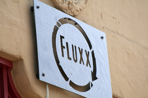 Fluxx's sign outside of its doors on 9th Street. photo: Craig Baker
