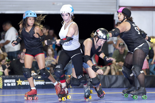 Madeline Bootyfly, Death Proof, Jamburger, Massie Kur during a Tucson Derby Brats bout. Photo: David T. Anderson/courtesy Tucson Derby Brats