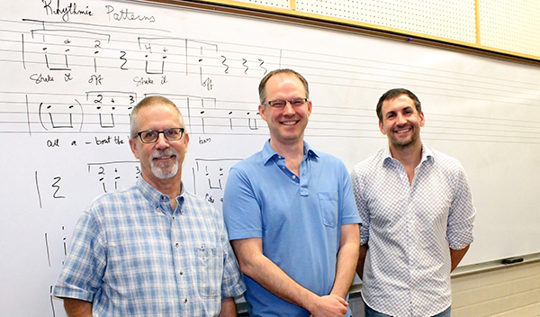 The Arizona Ear Worm Project includes Dan Kruse, an ethnomusicologist and AZPM radio announcer, UA Associate Professor of Music Theory Don Traut, and Speech, Language and Hearing Sciences Professor Andrew Lotto. photo: Jamie Manser/Confluencenter for Creative Inquiry